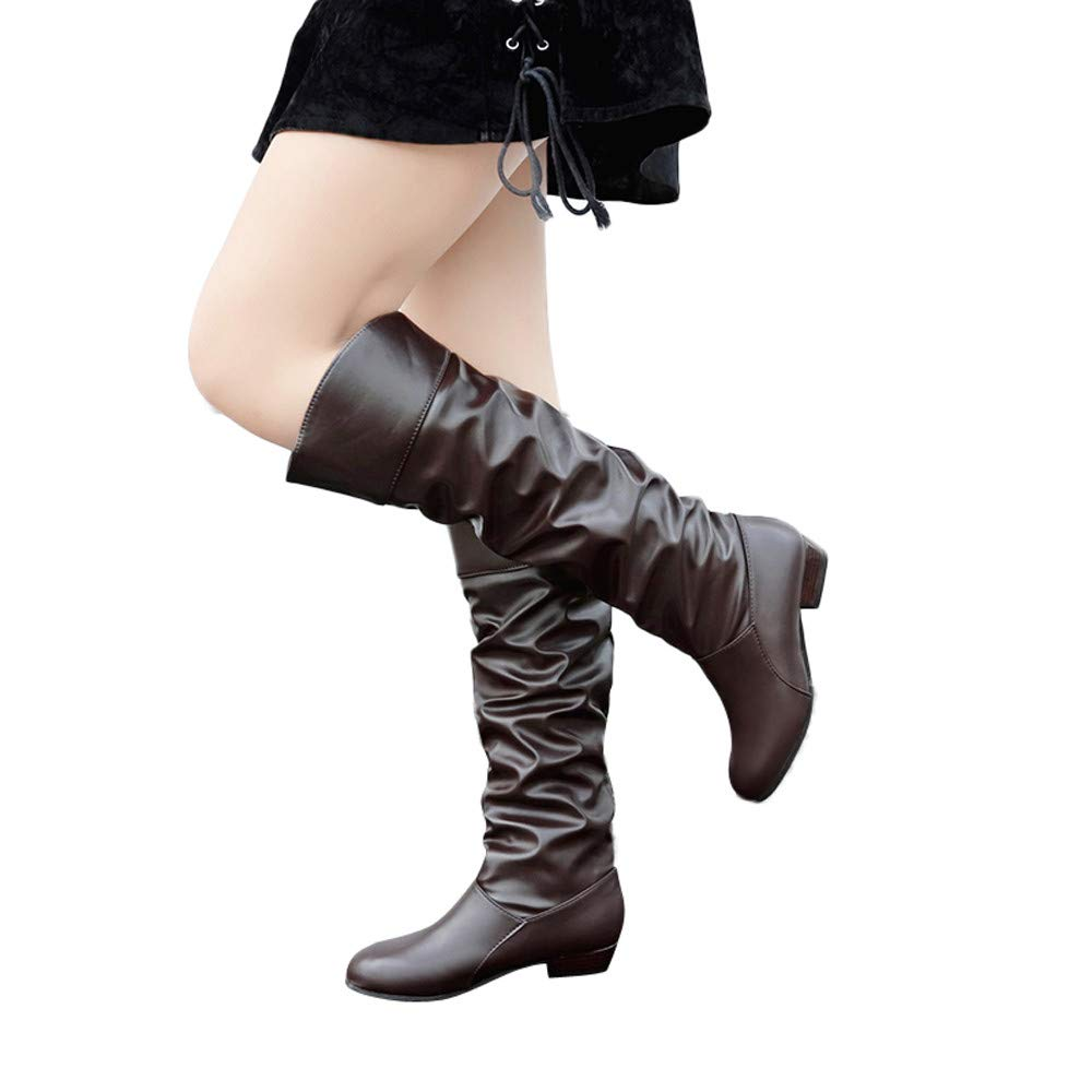 Women's Knee-Hight Boots Soft Leather Round Closed Toe Solid Slip-On Boots Party Shoes (Coffee, US:6.5)