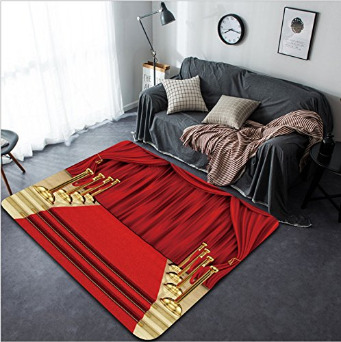 Vanfan Design Home Decorative 115218508 render of a red carpet with gold stanchions and curtains Modern Non-Slip Doormats Carpet for Living Dining Room Bedroom Hallway Office Easy Clean Footcloth by vanfan