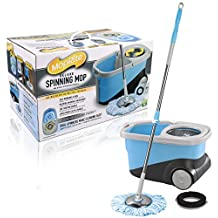 MopRite Spin Mop - Deluxe Stainless Steel Spin Mop and Bucket System with Wheels, Dual Function System for Spin Washing and Drying, Includes 2 Microfiber Mop Heads & Scrub Brush