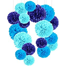 Tissue Paper Pom Poms, Recosis Paper Flower Ball for Birthday Party Wedding Baby Shower Bridal Shower Festival Decorations, 18 Pcs - Sky Blue, Blue and Dark Blue