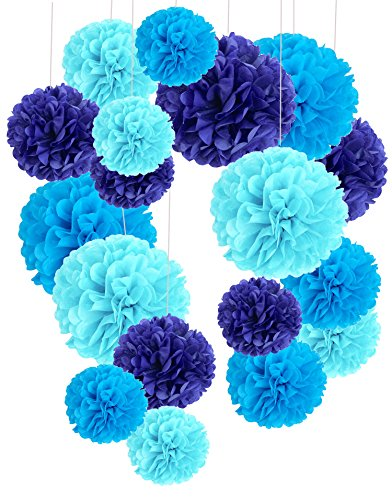(Tissue Paper Pom Poms, Recosis Paper Flower Ball for Birthday Party Wedding Baby Shower Bridal Shower Festival Decorations, 18 Pcs - Sky Blue, Blue and Dark)