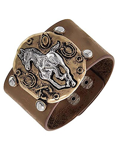 Horse Equestrian Two-Tone Western Shiny Brown Imitation Leather Cuff Bracelet (Brown Imitation