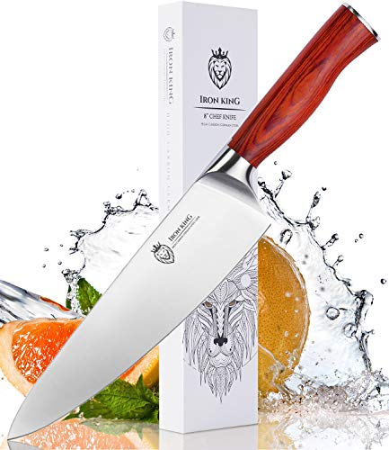 Chef Knife | Forged High Carbon Steel | Sharp Kitchen Knife with Ergonomic Handle | 8 Inch Professional Chef's Knife | Perfect Kitchen Gift for Cooking Lovers and Chefs. (Best Forged Blade Irons)