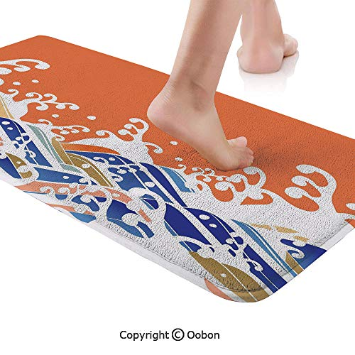 Japanese Wave Rug Runner,Vibrant Colorful Waves Illustration Intense Spindrift Nature Summer Surf Asia,Plush Door Carpet Floor Kitchen Decor Mat with Non Slip Backing,48 X 17.7 - Cycles Intense Spider