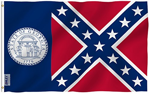 Anley Fly Breeze 3x5 Foot Old Georgia State Polyester Flag - Vivid Color and UV Fade Resistant - Canvas Header and Double Stitched - Georgia 1956-2001 Flags with Brass Grommets ()