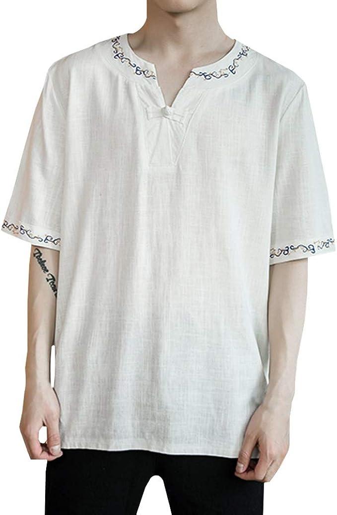 Goyajun Camisa De Manga Corta De Lino De Estilo Vintage Hombre - Camiseta Holgada Vintage, Camisa con Cuello Top Casual: Amazon.es: Ropa y accesorios