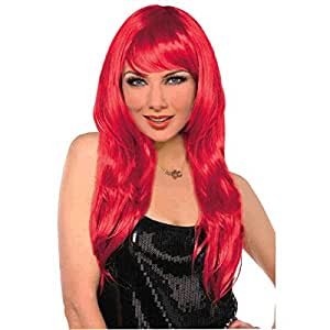 """Amscan Party Perfect Team Spirit Glam Long Wig (1 Piece), Red, 11.25 x 8"""""""