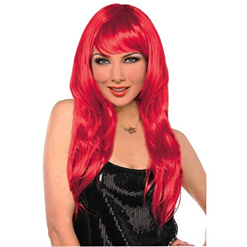 Party Perfect Team Spirit Glam Long Wig Accessory, Red, Synthetic Hair , 25