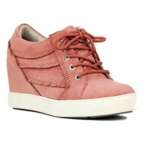 Sneaker Flecos Buonarotti Interior Rosa Altura con y 6 La cm Cuña Antelina Cordones con Cuña de de qwwRA0gd