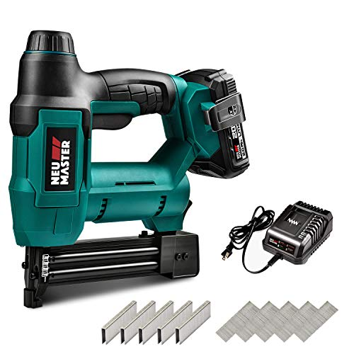 Cordless Brad Nailer, NEU MASTER NTC0023 Cordless Staple Gun for Upholstery, Home Improvement and Woodworking, Including 20V Max. 2.0Ah li-ion Battery, Charger (Brad 18 1/4' Nailer Gauge)