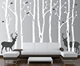 Birch Tree Wall Decal Forest with Snow Birds and Deer Vinyl Sticker Removable (9 Trees) #1161 (White Trees - Dark Gray Animals, 96'' (8ft) Tall)