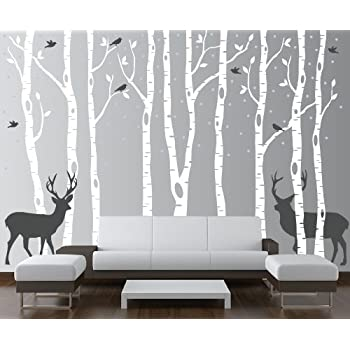 innovative stencils birch tree wall decal forest with snow birds and deer vinyl. Black Bedroom Furniture Sets. Home Design Ideas