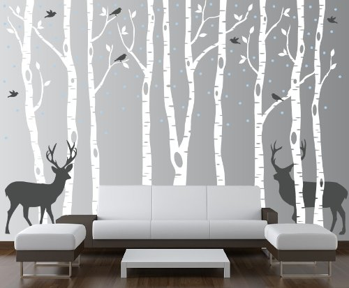 Birch Tree Wall Decal Forest with Snow Birds and Deer Vinyl Sticker Removable (9 Trees) #1161 (White Trees - Dark Gray Animals, 96