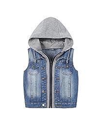 Kids Boys Hooded Denim Vest Zipper Fashion Hoodie Jean Jacket Tops Tank 3-10 Years