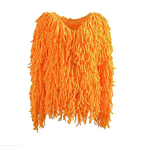 LLQ Abrigo para Mujer Invierno Piel Abrigo Borla Caliente Chaqueta Piel Long Section Ropa Mujer Abrigo Pelo Invierno Borla Ropa(Blanco) Naranja