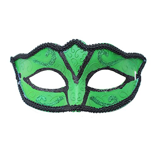 Mardi Gras Party Masquerade Mask,Halloween Men and Women Makeup Prom mask Half face mask Green Prom Masks