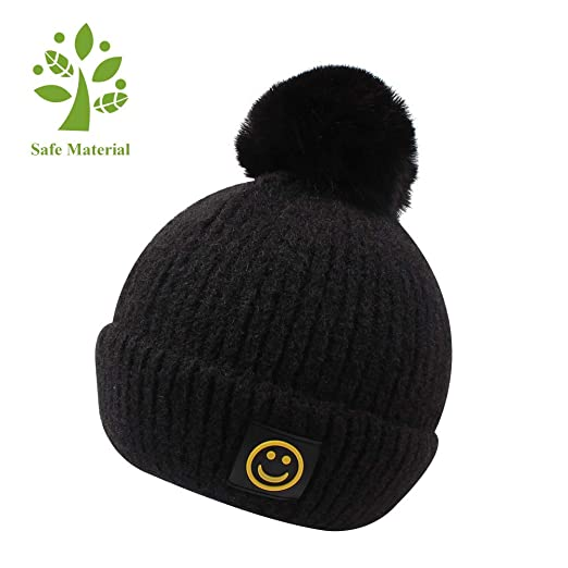 e0cfe6367d2 KASULAR Warm Christmas Hat Toddler Kids Boys Grils Pom Pom Knitted Beanies  for Winter 1-