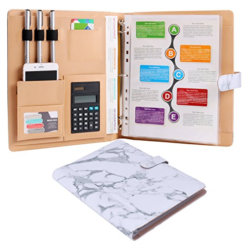 - Plinrise High Grade Multifunction Letter Size Padfolio/Resume Portfolio Folder-Document Organizer/Business Card Holder with Calculator and 8 File Pockets (White Marble)