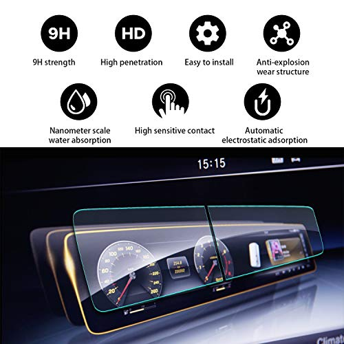 YEE PIN 2018 2019 Mercedes Benz S-Class W222 12.3Inch Tempered Glass(2Packs), High Definition Scratch Resistance Anti-Fouling Anti-Explosion & Automatic Adsorption Screen Protector