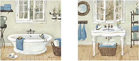 Amazon Com French Country Bathroom By Marietta Cohen 2 Piece Unframed Art Print Set 12 X 12 Inches Each Bathroom Art Posters Prints