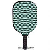 AngelDOU Teal and White lightweight Neoprene Pickleball Paddle/Racket Cover Case Abstract Geometric Minimalists Design Retro Diamond Line Decorative durable and portable.Sea Green Baby Blue Seal Brown