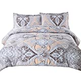 Bedsure Paisley Comforter Set Full/Queen Classics Grey Printed-Down Alternative Comforter(88''x88'') 3 Piece (1 Comforter + 2 Pillowcase)