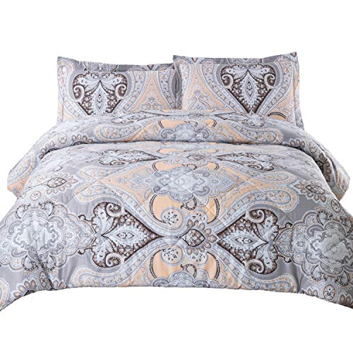 Bedsure Twin Comforter Set Classics Grey Paisley Design Down Alternative Comforter 2 Piece (1 Comforter + 1 Pillow Sham)(68