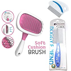 Best Pet Grooming Brush SET - Soft Cushion 360 Rotating Slicker Brush - 2 SIDES Shedding Comb - Tear Stain Remover Fine Tooth Comb for Dogs and Cats (Thank You Gift Included)