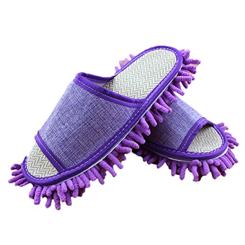 Moolecole Microfiber Mop Cleaning House Slippers Detachable Mopping Shoes Cleaning Tool Fits Womens Size 5.5-8 Purple