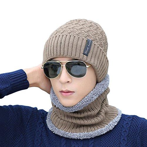 Ukallaite - Conjunto de pañuelo de Punto para Hombre, diseño de Gorro de Invierno Gris Gris M caqui