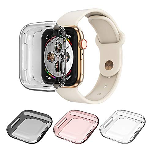 Monoy Case Apple Watch Series 4 Screen Protector 44mm, [3-Pack Colorful] All Around Soft TPU Protective Cover Case iWatch 4 44mm (Clear+Grey+Rose Gold)