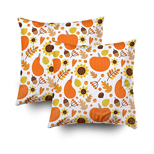 ROOLAYS Decorative Throw Square Pillow Case Cover 20X20Inch,Cotton Cushion Covers Halloween Pattern in Autumn Theme Both Sides Printing Invisible Zipper Home Sofa Decor Sets 2 PCS Pillowcase