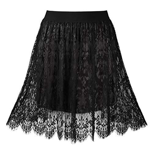 Agnes Orinda Women's Plus Size High Waist Fall Flared A-line Lace Midi Skirt 1X Black (Plus Lace Skirt Size)
