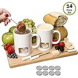 Evelots Fondue Mugs, 2 Mugs, 4 Forks & 8 Votive Candles, White- 14 Piece