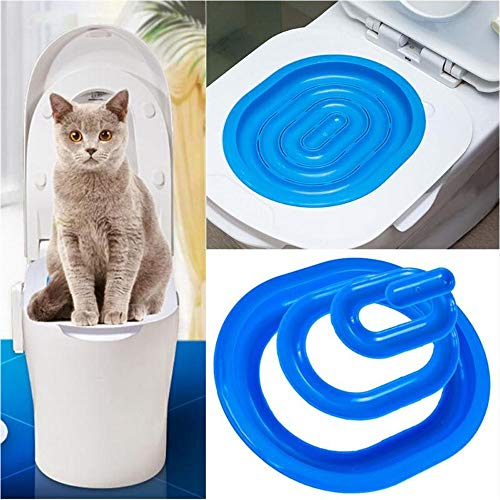 Cat Toilet Training Kit, Step by Step Kitten Pet Toilet Training System, Puppy Litter Tray Mat, Kitty Urinal Seat Toilet Trainer, Blue Convenient Groove Design Safe Non-Toxic Pet Supply