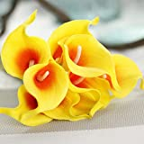 JIALE3536 Artificial Flowers 1Pc Artificial Flowers Wedding Decoration Pu Calla Lily Flowers Bouquets Home Autumn Decoration Artificial Plants Fake Flores,Orange And Yellow