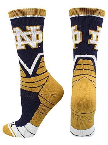 (TCK Notre Dame Fighting Irish Victory Crew Socks (Blue/Gold/White, Large))