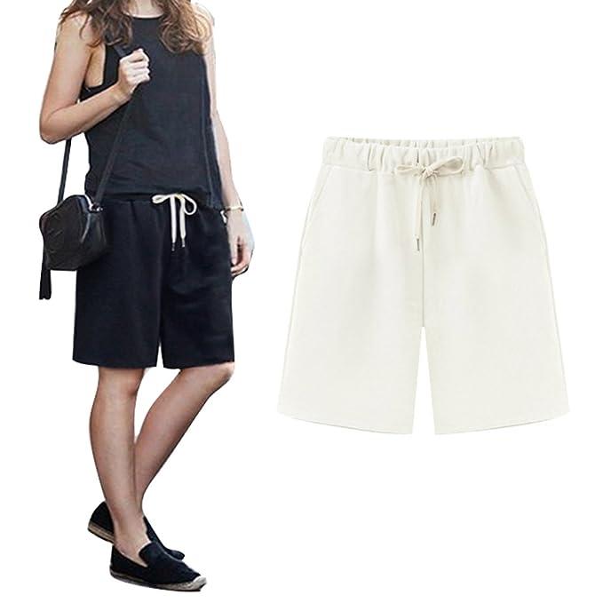 Highdas Mujeres Casual Cintura Elástica Rodilla de Longitud Salvaje Pantalones Cortos con Cordón Talla Grande Bermuda
