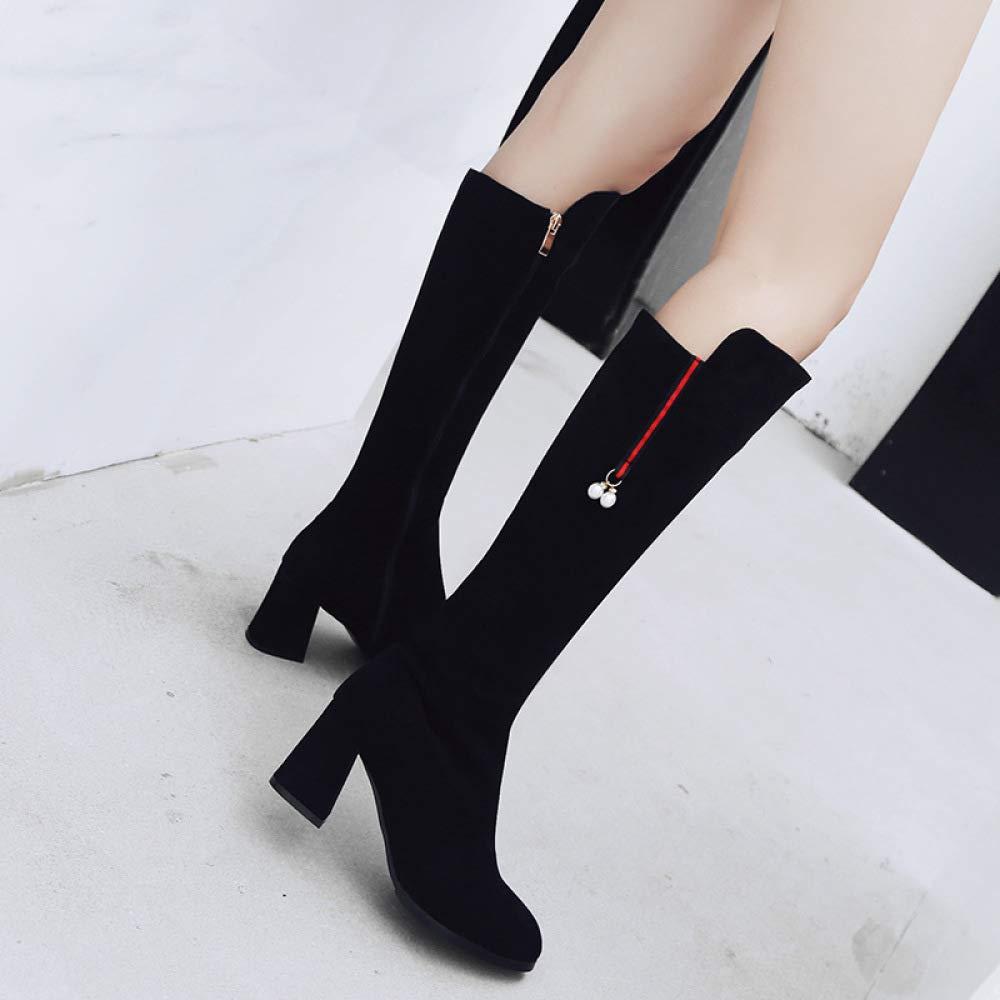 Damenmode Knie Stiefel 2018 Herbst Winter Winter Winter High-Heel Wildleder Ritter Stiefel Größe 33-43 502af7