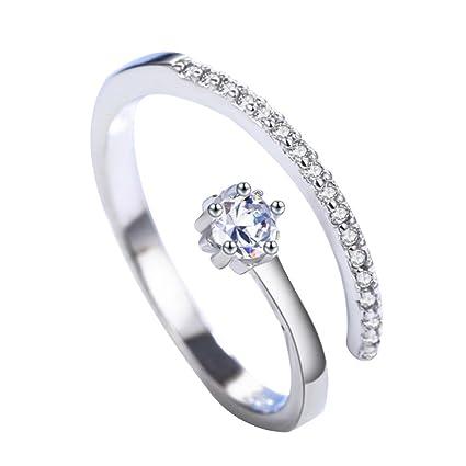 Wakerda Anillo Blanco Forma de Corazón Elegante Mode Cristal Anillo Lujo Diamante Sintético Boda Joyas Anillo