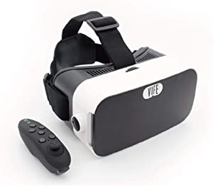 VIFE, Virtual Reality Headset ,3D VR Glasses for Mobile Games and Video & Movies,with Bluetooth Remote Controller,Compatible 3.5-6 inch iPhone/Android Phone,Including iPhone,Samsung, LG,etc (White)