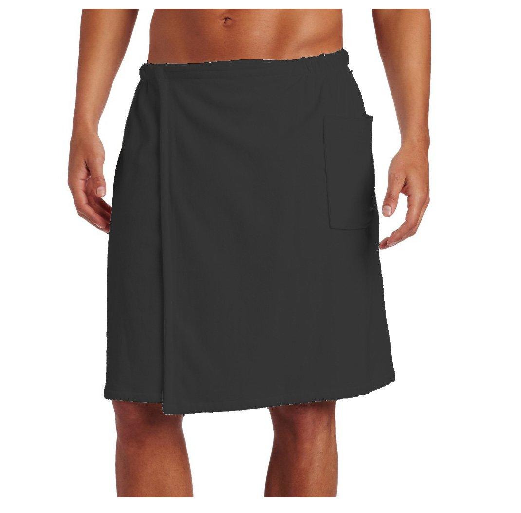 Pure Cotton Terry Cotton Bath Spa Men's Wrap Towels, One Size, Charcoal