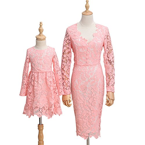 PopReal Mommy and Me Long Sleeve Flower Lace Wedding Party Skater Dress Family Matching Outfits by PopReal
