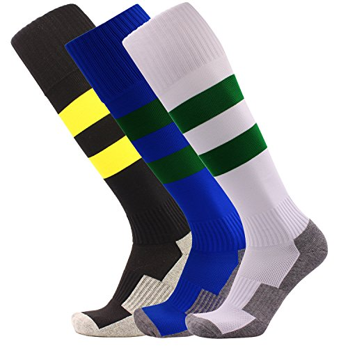 Big Kid Soccer Socks 3 Pack Knee High Stripe Compression Football Socks for Youth ( Black + White + Royal Blue )