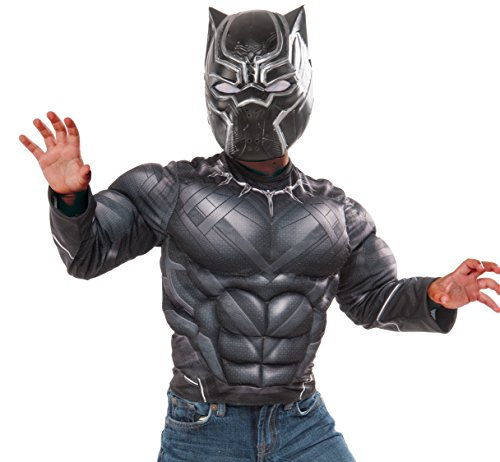 [Marvel Captain America: Civil War Black Panther Muscle Chest Shirt and Mask, Child's Small] (Black Panther Costume Marvel)