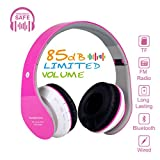 Kids Bluetooth On-Ear Headphones 85dB Volume Limiting Wireless/Wired Foldable Headset Earphones with AUX 3.5mm Jack,Mirco SD Card Slot,FM Radio for Students Children for PC Tablets Cellphone(Pink)