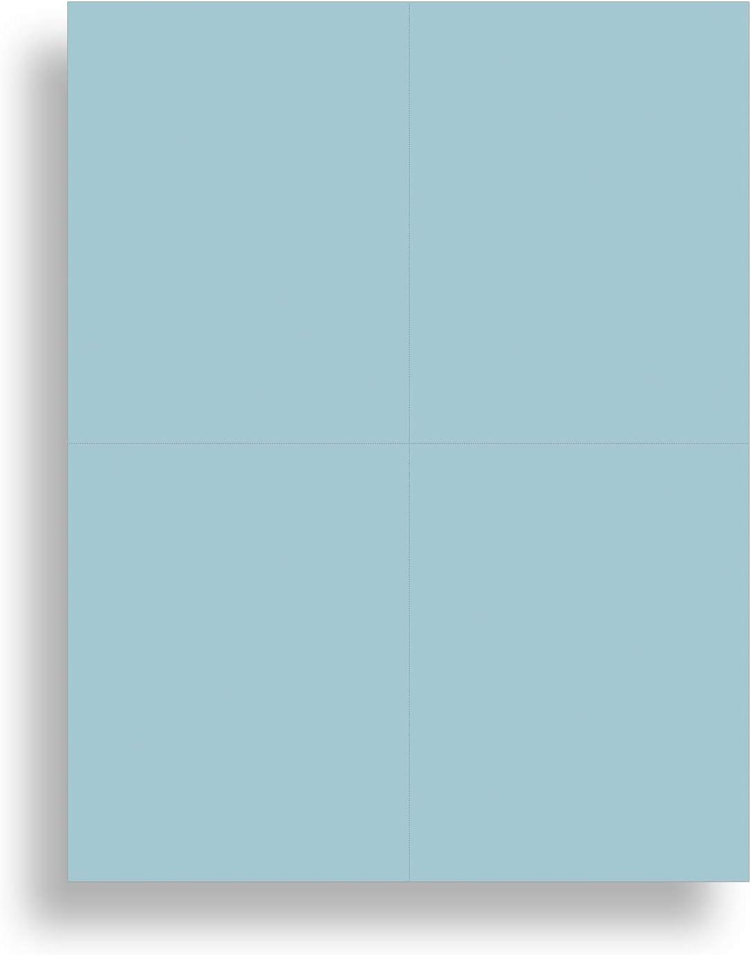 Blank Colored 4-up Postcard Paper by Desktop Publishing Supplies - 25 Sheets / 100 Postcards Pack - Printable with Laser or Inkjet Printer - Plain Matte Cardstock (Plain Blue)