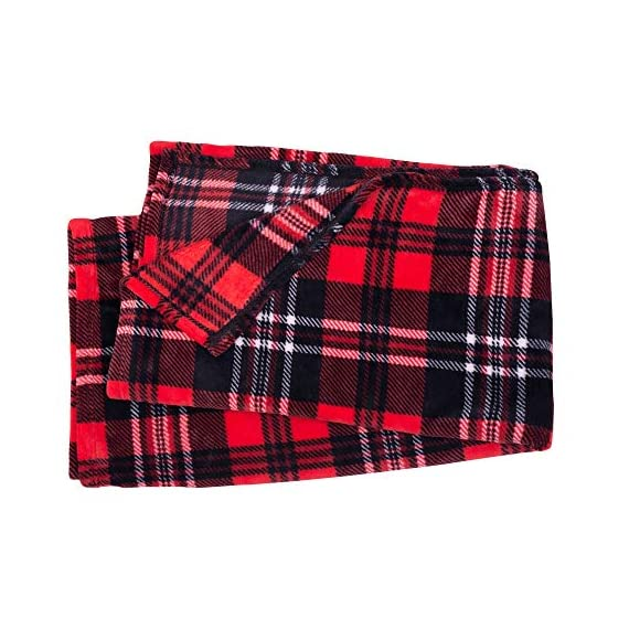 SOCHOW Flannel Fleece Blanket 50 × 60 Inches, All Season Plaid Red/Grey Blanket for Bed, Couch, Car - MATERIAL&DESIGN:These flannel blankets are 100% high-quality polyester fiber. The thick and thin lines are interspersed to emphasize the texture of the blankets, which are endowed with modern style without compromising comfort.They are extremely soft and warm with delicate package edge, rigorously designed with rigorous broad-brimmed pattern. Besides, they also feature seamless round edge, solid and beautiful. EASY CARE: - Machine washable under 30 degrees -Easy to store, -Wrinkle-resistant -High color fastness &No hair off. MULTI FUNCTIONS:Suitable use for couch, chair, car, bed or on the floor. It's also easy to take to outdoors. - blankets-throws, bedroom-sheets-comforters, bedroom - 51gcO2o5rAL. SS570  -