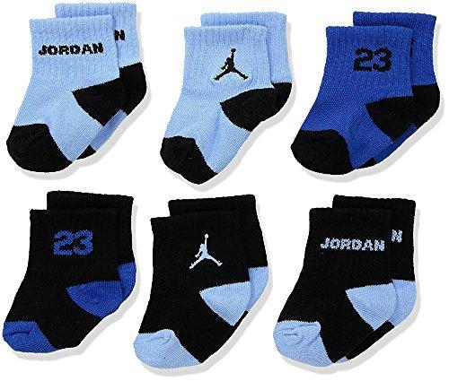 Nike Air Jordan 6 Pair Baby Boy Socks Blue Black Size 3C-7C/4-5(Baby Socks) (Air Jordan Baby Socks)