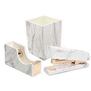 3 Pack Office Stationery Kit Marble Print Desk Pen Holder Cup | Tape Dispenser | Desktop Staplers Gold Tone Office School Home Accessories Supplies Set (Gold)